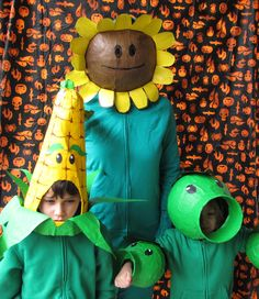 Plants vs. Zombies Halloween Costumes. Triple Pea Shooter, Kernel-pult , and Sunflower.