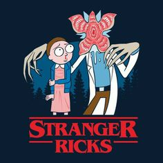 """Stranger Ricks"" by Diego Pedauyé Eleven and the Demogorgon from Stranger Things in the style of Rick and Morty Ricky Y Morty, Rick And Morty Poster, Rick E, Fandoms, Animation, Anime, Iphone Wallpaper, Cartoon Wallpaper, Nerdy"