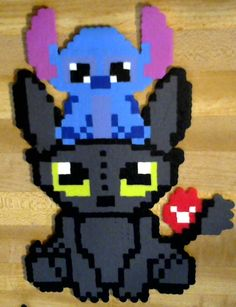 Stitch and Toothless Perler