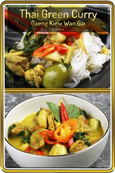 Thai Chicken Green Curry, one of the sweet and spicy curry dishes from Thailand. It can be adjusted to zero spicy and it would still be authentic. This is because there are no-chili versions of this dish, and Thai people still eat it! Easy Thai Green Curry, Thai Green Curry Recipes, Spicy Chicken Recipes, Asian Recipes, Ethnic Recipes, Easy Recipes, Recipe Chicken, Delicious Recipes, Soup Recipes