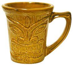 Tiki Ware: Flair Mug; Imprint on back in Deep Etch or Sand Blast; Available in Lt.Blue, Olive, Light Green, Burgundy, Orange, Blue and Brown.