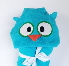 Blue Owl Hooded Towels, Kids Hooded Towels, Hooded Baby Towel, Hooded Beach Towels, Hooded Bath Towels, Baby Towels, Kids Towels by CountryStitched on Etsy