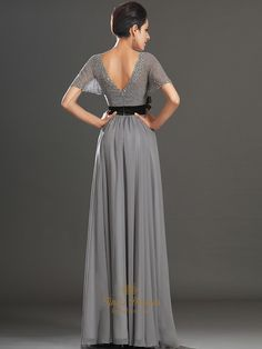 Grey V-Neck Chiffon Beaded Flutter Sleeves Prom Dress With Black Sash