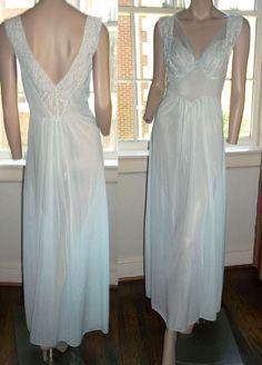 Dupont Nylon 34 Chiffon Bodice Long Nightgown Negligee Pale Aquamarine #Carters