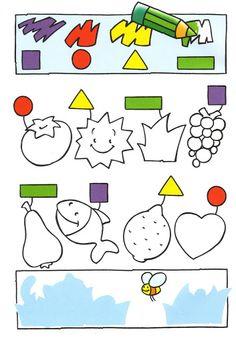 vyfarbi podľa označenia tvarov
