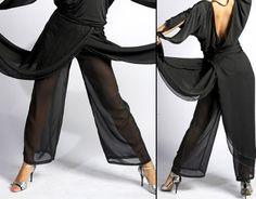 Layered Sheer Wide-Leg Harem Pants tango pants, tango clothes [10Pa003] - $91.00 : Latin dance wear, ballroom dance shoes, latin dance skirts & Salsa dresses.
