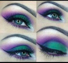 Green and Purple Smokey eye make-up Purple Smokey Eye, Purple Eye Makeup, Purple Eyeshadow, Makeup For Green Eyes, Love Makeup, Eyeshadow Makeup, Eyeliner, Smoky Eye, Eyeshadow Palette