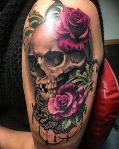 Skull, rose and lace tattoo ❤️ Arm Sleeve Tattoos For Women, Left Arm Tattoos, Colored Tattoo Design, Beautiful Flower Tattoos, Sugar Skull Tattoos, Lace Tattoo, Skulls And Roses, Flower Skull, Future Tattoos