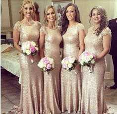 Scoop Cap Sleeves Sequined Lace Mermaid Long Bridesmaid Dresses,Long Bridesmaid Dresses,Prom Gown,Bridal Wedding Gown,Bridal Gown,Long Prom Dresses,
