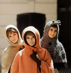 Hooded cape coats, photo Mark Shaw, 1960