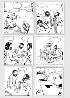 Road to Emmaus empty comic, I found this comic online, and select several crucial pictures for the bible story on the road to Emmaus, erased words and line pictures in proper order so kids can fill clouds by them self after we read story on class  na putu u Emaus