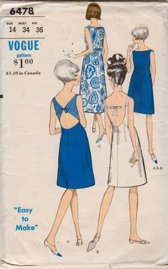 Vogue 6478 1960s Misses Easy To Make Sleeveless Cocktail Dress Pattern Low V Back or Cut Out Back womens vintage sewing pattern by mbchills
