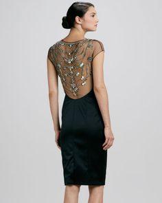 Sateen Embroidered-Neck Sheath Dress Back Day Dresses, Dress Outfits, Lil Black Dress, Gatsby Style, Lela Rose, Summer Trends, Dress Backs, Dress Me Up, Beautiful Dresses
