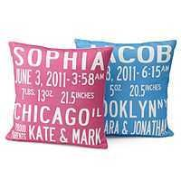 "Love the font & the edgy look of these pillows. Sometimes baby gifts can be sooo sweet & cutesy, it's nice to give it a little ""baby cool"" for a change. $100 Handmade, pink or blue.      Available at uncommongoods.com"