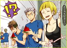 REAL WATERMELONS. Bokuto what the actual f are you looking at boy ( ̄へ ̄)