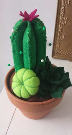 Mini Felt Cactus Succulent Garden in Pot by georgesmallcake