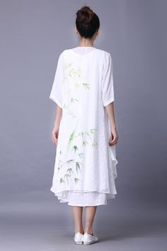 2015 Summer New Features China Wind Retro Cardigan Hand painted Flowers Loose Linen Cotton  Sunscreen Gown