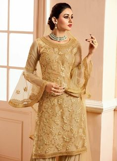 Gold On Gold Traditional Embroidered Gharara Suit - Hatkay Pakistani Suits, Salwar Suits, Garara Suit, Sharara, Anarkali, Suits For Women, Clothes For Women, Designer Punjabi Suits, Embroidery Suits