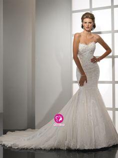 Sirène Col en cœur Traîne mi-longue Robe de mariée en Tulle avec Perle Dentelle
