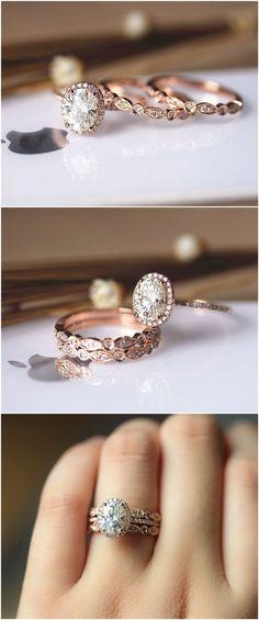3PCS Ring Set ! 6x8mm Oval Brilliant Moissanite Ring Set Wedding Ring Set Solid 14K Rose Gold Ring Set / / www.deerpearlflow...