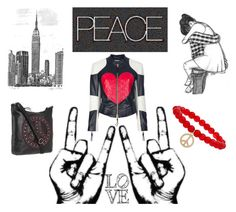 """""""Peace"""" by latoyacl ❤ liked on Polyvore featuring Moschino, Boy Sees Hearts, Miss Selfridge, The Sak, friendship bracelets, collarless jackets, motorcycle jackets and leather messengers"""