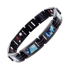 Mens Black Military Army Marine Camouflage Rubber Link Chain Magnetic Titanium Bracelet (Marine Blue). Masculine but elegant chain link bracelet made from titanium, rubber, and magnets; Closure and pins are made from stainless steel; Please note that titanium is a light but very strong metal. If you are looking for a heavier bracelet, a stainless steel bracelet might be a better replacement. Length: 8.25 Inches; Adjustable length using the free link removal tool; The length can be…