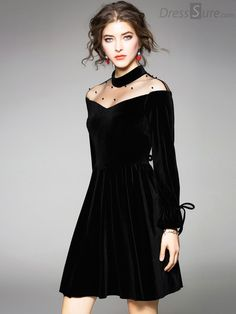 b8307c640 Sexy See-Through Long Sleeve Skater Dress. See ThroughSkater DressDress  SkirtBeautiful OutfitsBeautiful ClothesCocktail ...