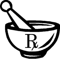 "Image of the Pharmacy Symbol - Mortar and PestleThe two symbols most commonly associated with pharmacy are the mortar and pestle and the ℞ (recipere) character, which is often written as ""Rx"" in typed text."
