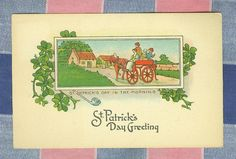 Old Postcard St. Patrick's Day in the Morning Family Horse Wagon Unused