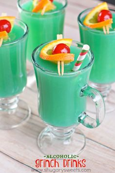 This holiday drink would be perfect for St.Patrick's Day too! Fun, fruity, and GREEN!