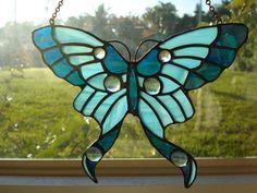 Blue Butterfly Suncatcher - Delphi Stained Glass