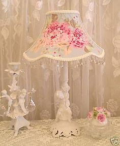shabby LAMP SHADE made w ASHWELL HYDRANGEA Rose fabric
