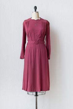 vintage 1940s silver studded magenta dress