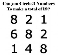 Can you Circle 3 Numbers That Add Up to [Click Photo for Answer] Click Photo, Brain Teasers, Alice Arnold, Numbers, Puzzle, Canning, Summer Time, Games, Mind Games