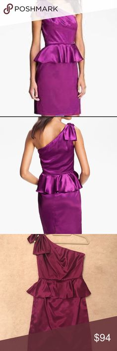 Jill Stuart satin peplum one-shoulder dress Never worn, like new Jill Stuart satin cocktail/formal/night out dress. One shoulder with bow detail, peplum detail by waist. Size 4, mini/above knee length. (Color looks magenta in two of the pictures because of lighting, close up picture/model picture is exact color) Jill Stuart Dresses One Shoulder