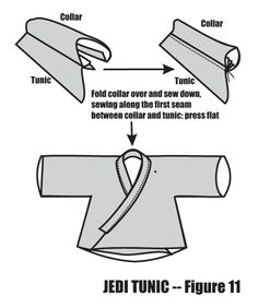 Using an A-line in a Jedi Tunic - Figure 11 Costume Jedi, Costume Star Wars, Jedi Cosplay, Costume Patterns, Sewing Patterns, Clothes Patterns, Traje Jedi, Karate Pants, Jedi Outfit