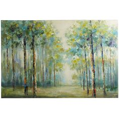 Looking at this gorgeous hand-painted canvas of a muted forest scene, one might be inclined to ponder what lies ahead. The answer may be a multitude of decorating possibilities, a more serene environment and the promise of a beautiful room. 59 x 40 $160