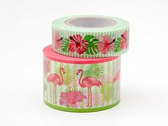 Masking Tape 20 m x 10 m x 30 mm/10 m x 15 mm Set Flamingo and Hibiscus Flowers