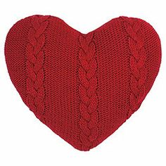 Scandi Cable Knit Cushion Red Heart