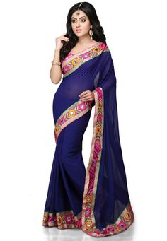 Ink blue crepe or semi crepe with kutch/mirror work borders
