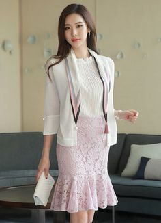 Korean Women`s Fashion Shopping Mall, Styleonme. Korean Fashion Trends, Korean Street Fashion, Asian Fashion, Fashion Models, Fashion Outfits, Womens Fashion, Look Formal, Long Tops, Scarf Styles