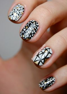 Dressed Up Nails - black and white triangle nail art