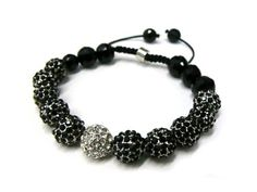 Silver with Black Shamballa 10mm Glass Beaded Bracelet with 11 Iced Out Disco Balls JOTW. $19.95. Great Quality Jewelry!. 100% Satisfaction Guarunteed!. Unique adjustable pull string cobra stitched lanyard design.