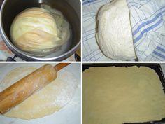 """Těsto kynuté pod vodou je na přípravu velice snadné a bez obav ho mohou vyzkoušet i méně zdatní domácí """"pekaři"""". Z těsta kynutého pod vodou se připravují záviny a """"sendvičové"""" řezy, a dále drobné vypichované cukroví nebo slané pečivo. Já se pustila do jablečných řezů :-) Dairy, Menu, Cheese, Food, Menu Board Design, Meal, Essen, Menu Cards"""
