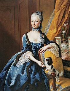 Portrait de la princesse Christine Charlotte de Hesse Kassel avec un Cavalier King Charles Spaniel, par Johann Heinrich Tischbein l'aîné