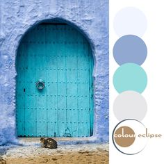 aqua and periwinkle color palette, seafoam green door with arched top, sky blue stucco wall, warm brown dirt ground, black cat in doorway, pantone serenity, pantone limpet shell, pantone iced coffee, light gray, pale blue, blue-black accents