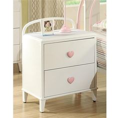 Juliette collection Night Stand in Sandy yellow w/ heart shaped knobs