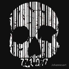 Bar code skull t shirt