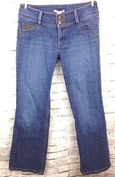 CAbi #895 R Womens Jeans Contemporary Fit Boot Cut Sz 10 Flap Pockets Dark Denim #CAbi #BootCut