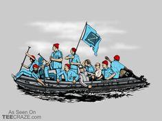 Zissou Crossing The Delaware T-Shirt - http://teecraze.com/zissou-crossing-the-delaware-t-shirt/ -  Designed by Tom Ledin    #tshirt #tee #art #fashion #clothing #apparel